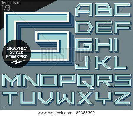 Vector illustration of an old fashioned alphabet. Techno hard. Set 1