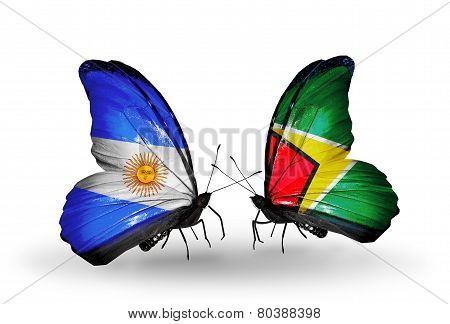 Two Butterflies With Flags On Wings As Symbol Of Relations Argentina And Guyana
