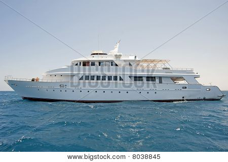 Large Motor Yacht At Sea