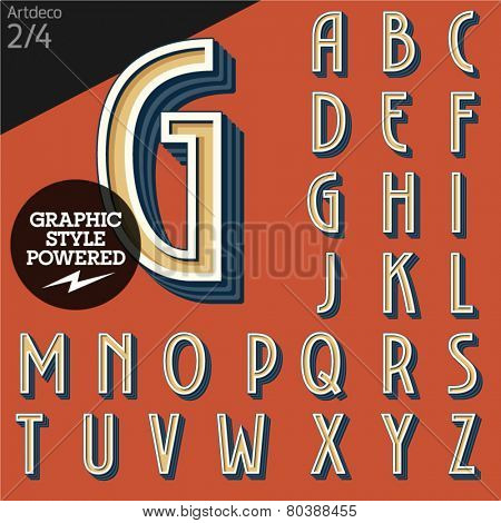 Vector illustration of an old fashioned alphabet. Art deco. Set 2