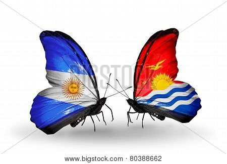 Two Butterflies With Flags On Wings As Symbol Of Relations Argentina And Kiribati