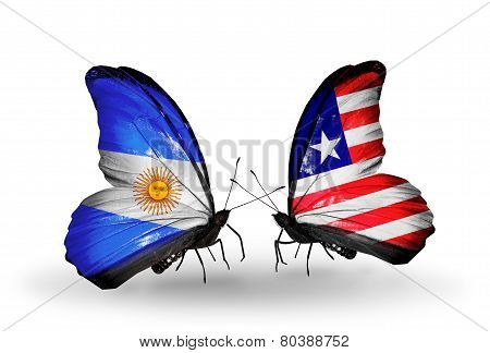 Two Butterflies With Flags On Wings As Symbol Of Relations Argentina And Liberia