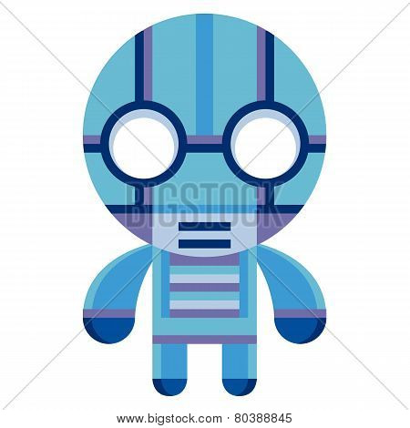 Vector Cartoon Funny Robot Isolated On White Background