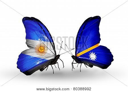 Two Butterflies With Flags On Wings As Symbol Of Relations Argentina And Nauru