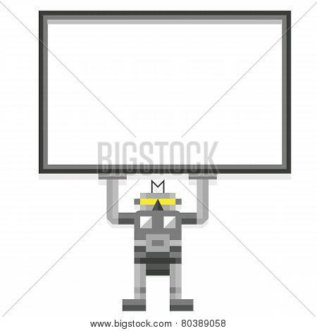 Vector Cartoon Robot Holding A Blank Board