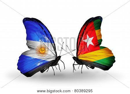 Two Butterflies With Flags On Wings As Symbol Of Relations Argentina And  Togo