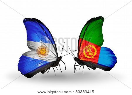 Two Butterflies With Flags On Wings As Symbol Of Relations Argentina And Eritrea