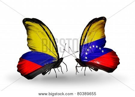 Two Butterflies With Flags On Wings As Symbol Of Relations Columbia And Venezuela