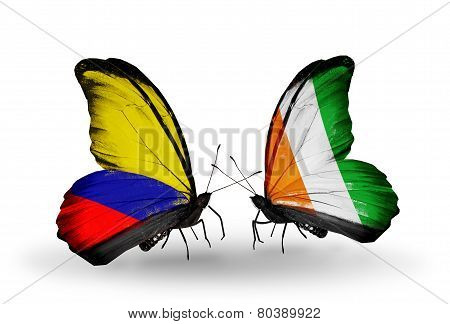 Two Butterflies With Flags On Wings As Symbol Of Relations Columbia And Cote Divoire