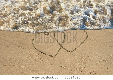 hearts on the beach