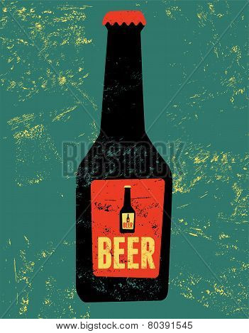 Vintage grunge style poster with a beer bottle. Retro vector illustration.