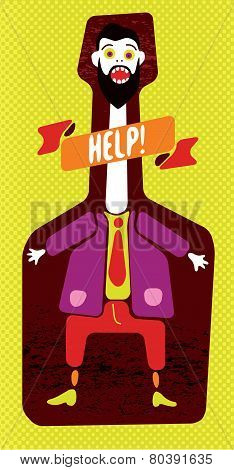 Funny man screaming in bottle. Vector illustration.