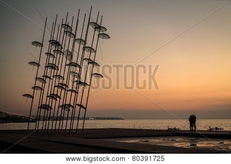 Umbrellas Statue At Sunset, Thessaloniki, Greece