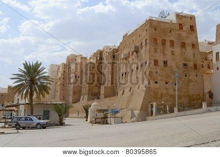 Mud brick tower houses town of Shibam, Hadramaut valley, Yemen.