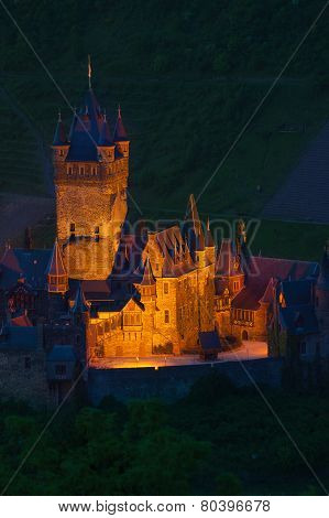 Close view Cochem illuminated at night