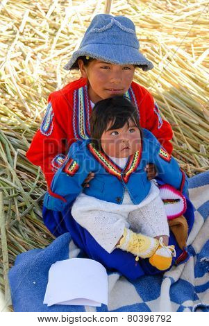 Peruvian Children Around Lake Titicaca, Peru
