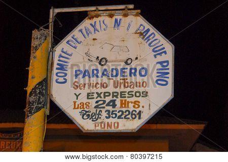 Taxi Service Sign, Lake Titicaca, Peru