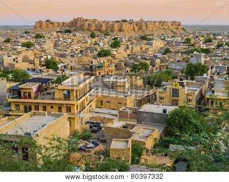 India, panoramic view of Jaisalmer Fort, the golden city
