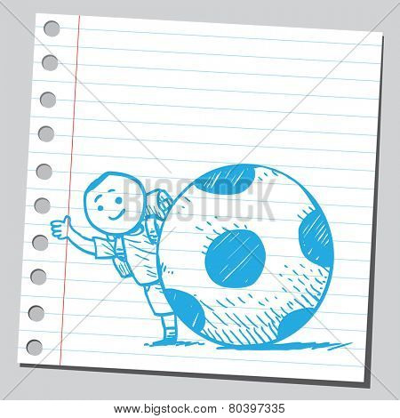 Schoolkid behind ball