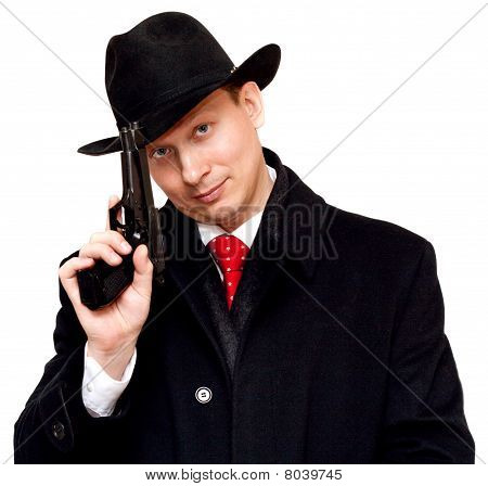 Man In Suit, Red Tie With Gun