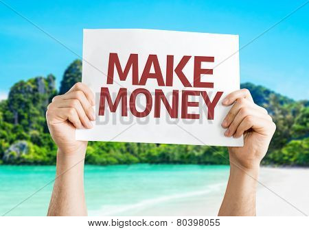 Make Money card with a beach on background