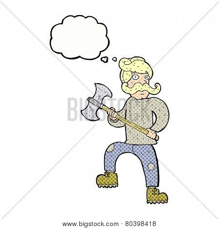 cartoon man with axe with thought bubble