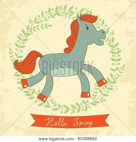 Hello spring concept card with cute running horse