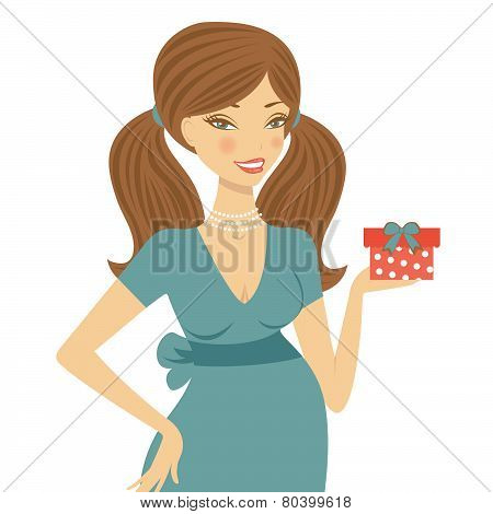Beautiful mom to be holding gift box