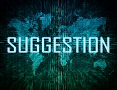 stock photo of suggestive  - Suggestion text concept on green digital world map background - JPG