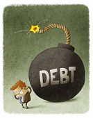 stock photo of bomb  - illustration of Businessman with Huge debt Bomb behind - JPG