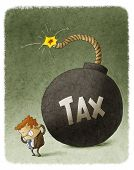 picture of time-bomb  - illustration of Businessman with Huge Tax Bomb behind - JPG