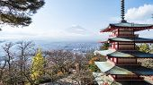 pic of mount fuji  - Mount Fuji and Chureito Pagoda Japan for adv or others purpose use - JPG