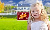 picture of yard sale  - Cute Smiling Girl in Front Yard with Sold For Sale Real Estate Sign and House - JPG
