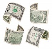 picture of two dollar bill  - Set of flying two dollars banknote isolated on white background - JPG