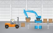 picture of forklift  - Robot working with conveyor belt  and forklift  in factory - JPG