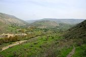 stock photo of golan-heights  - Winter hazy landscape on Golan Heights Israel - JPG