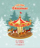 foto of merry-go-round  - Christmas card with vintage merry - JPG