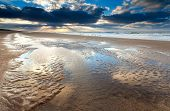 picture of tide  - low tide at sunset on North sea North Holland Netherlands - JPG