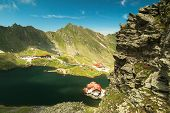 picture of chalet  - Balea Lake and chalet in Romania Fagaras mountains - JPG