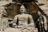 stock photo of grotto  - one single bodhisattva sitting in a cave in Yungang grotto - JPG