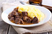 picture of mashed potatoes  - Mashed potatoes and beef stew with gravy  - JPG