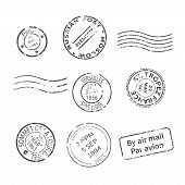 image of monochromatic  - Vector set of vintage style post stamps from countries and cities around the world - JPG