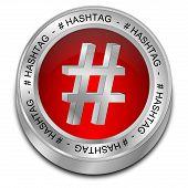picture of hashtag  - glossy red hashtag Button on white background - JPG