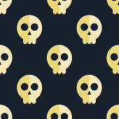 image of skull crossbones flag  - vector seamless pattern with skulls and bones black background - JPG