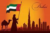 pic of dubai  - Dubai city skyline silhouette background vector illustration - JPG