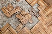 stock photo of floor heating  - Damaged wooden floor  - JPG