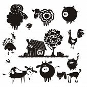 picture of cattle dog  - Vector silhouettes - JPG