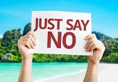 stock photo of just say no  - Just Say No card with a beach on background - JPG