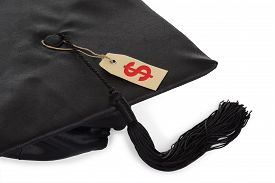 image of tassels  - Black Graduation Cap With Tassel And Price Tag Isolated Over White Background - JPG