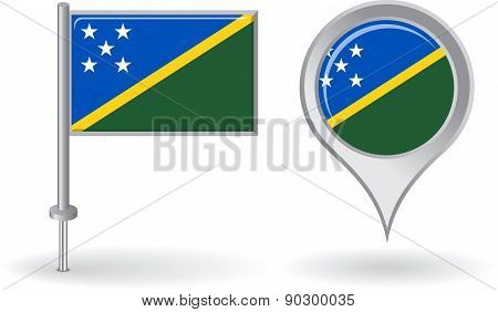 Solomon Islands pin icon and map pointer flag. Vector